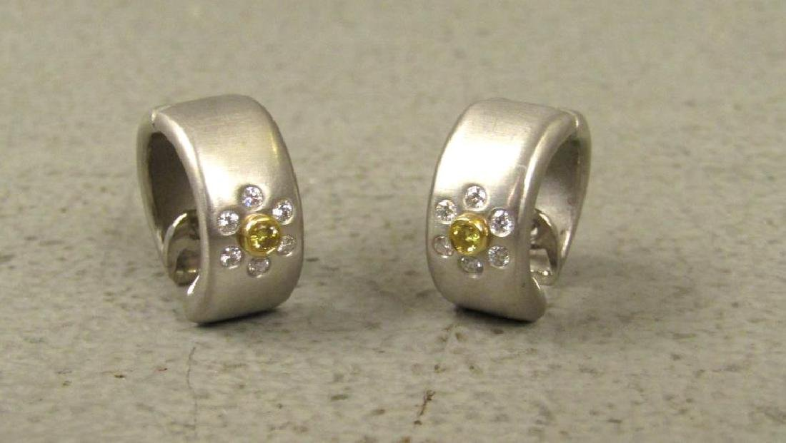 Pair Platinum, Diamond and 18K Gold Earrings