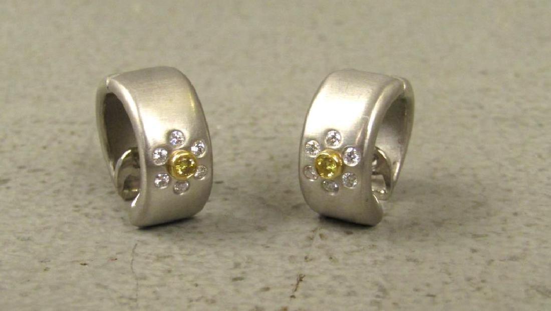 Pair Platinum, Diamond and 18K Gold Earrings