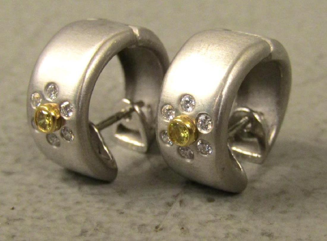Pair Platinum, Diamond and 18K Gold Earrings - 2