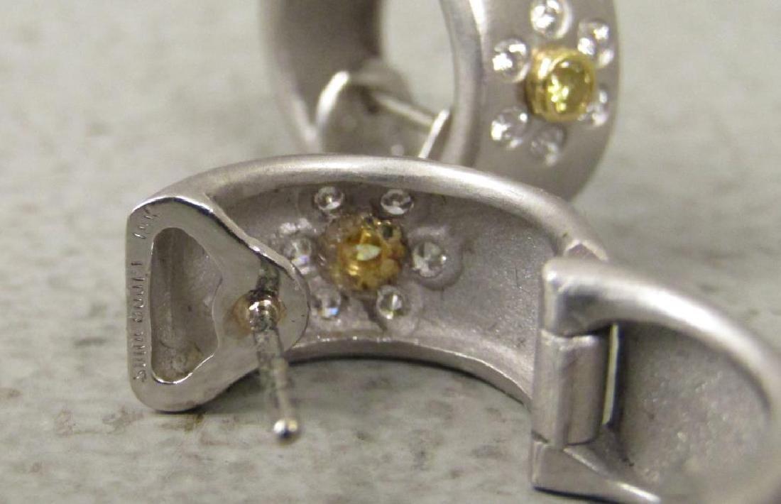 Pair Platinum, Diamond and 18K Gold Earrings - 3