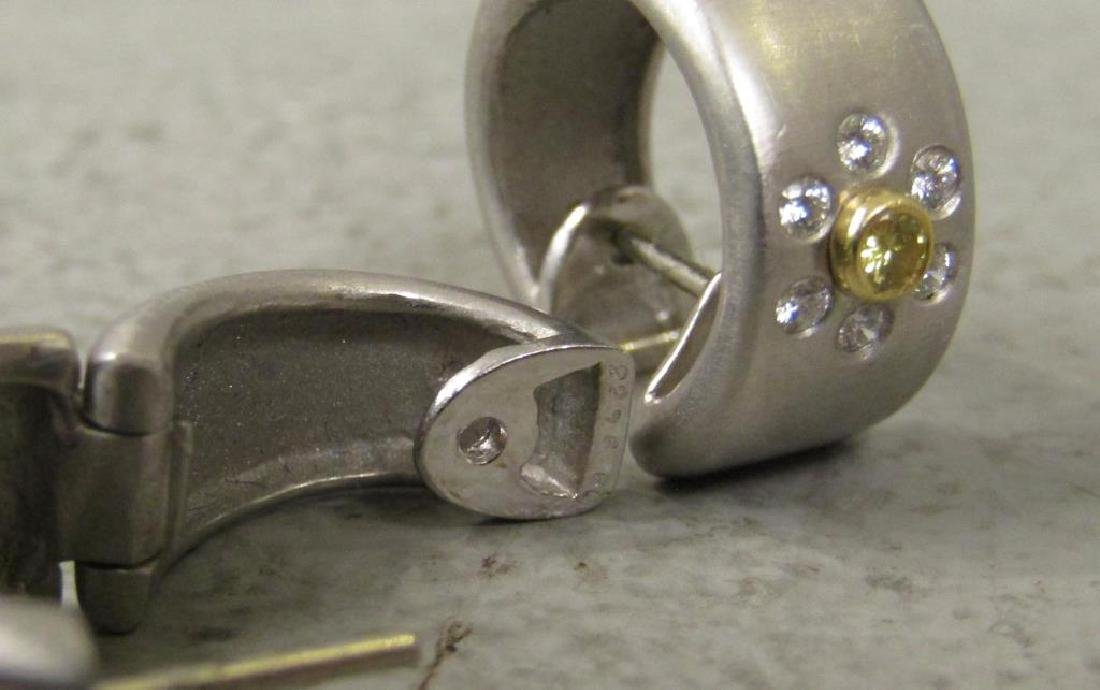 Pair Platinum, Diamond and 18K Gold Earrings - 4