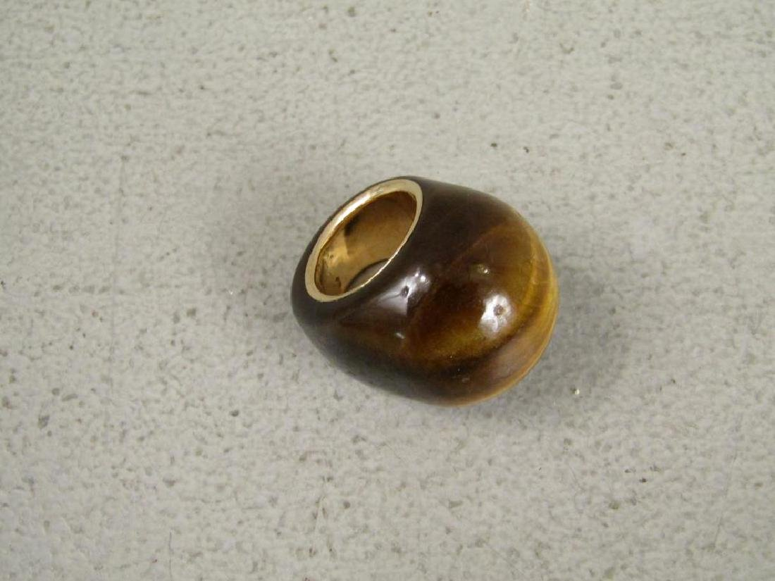 Tiger's Eye and Gold Mounted Ring - 2