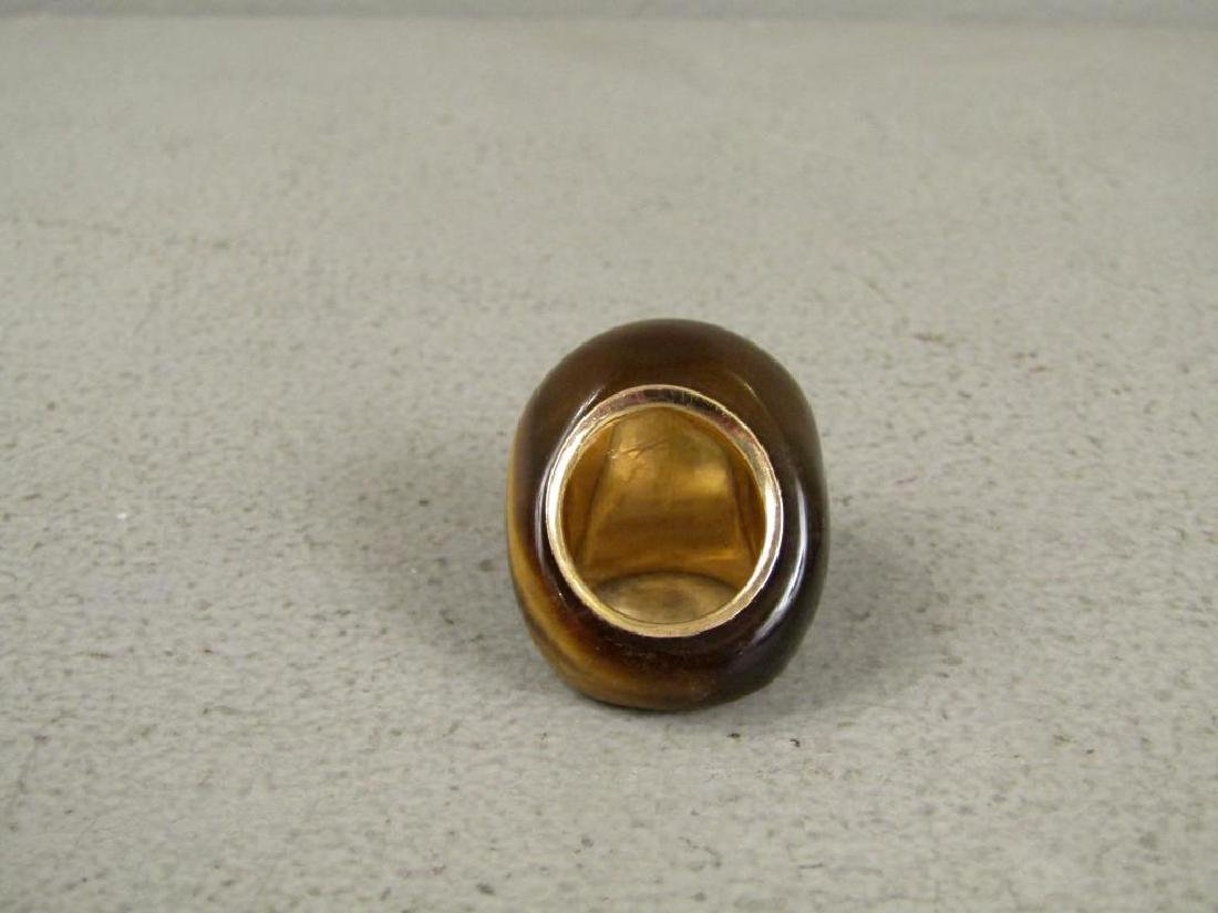 Tiger's Eye and Gold Mounted Ring - 4