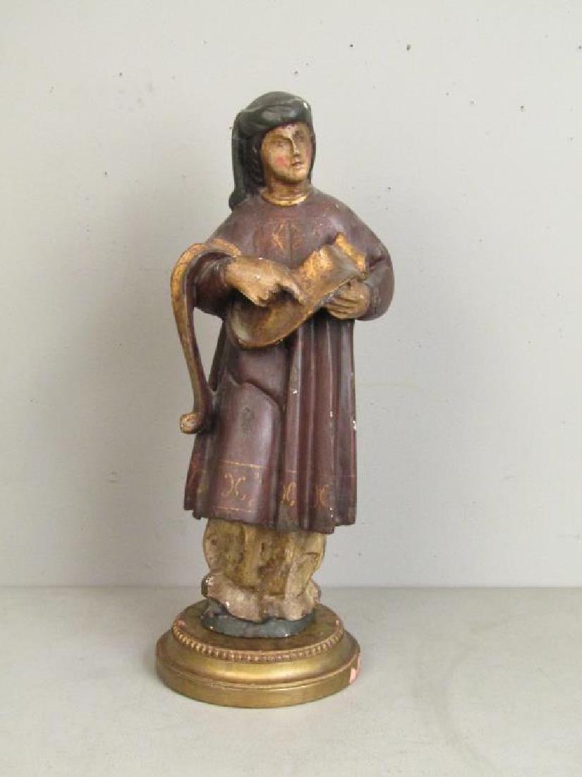 Antique Spanish Painted Wood Figure