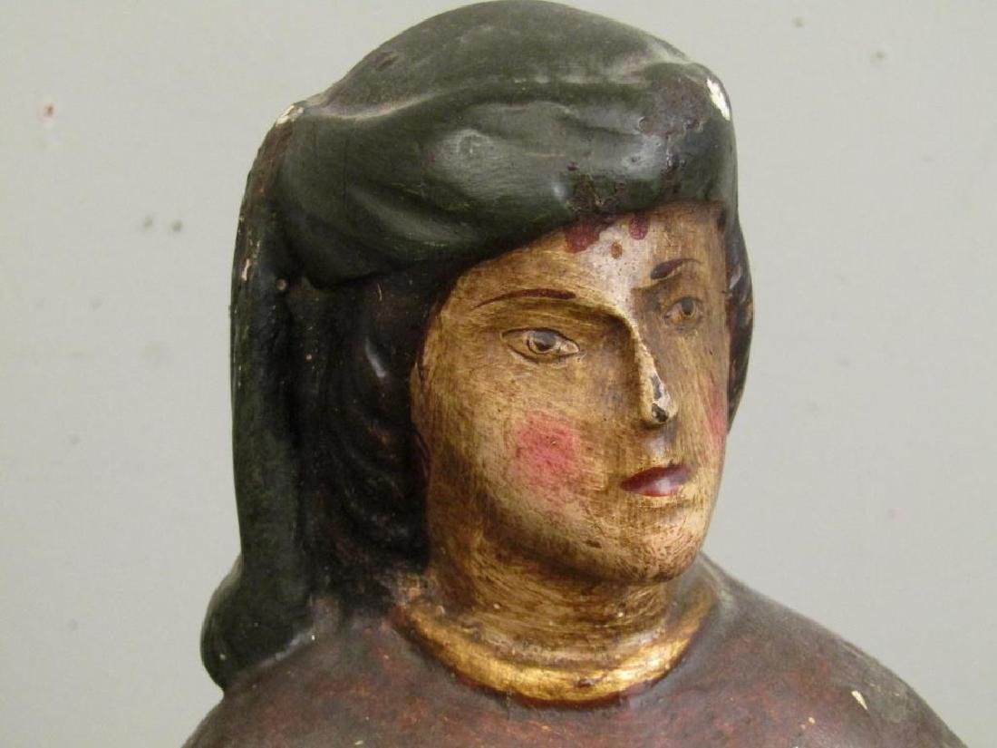 Antique Spanish Painted Wood Figure - 3