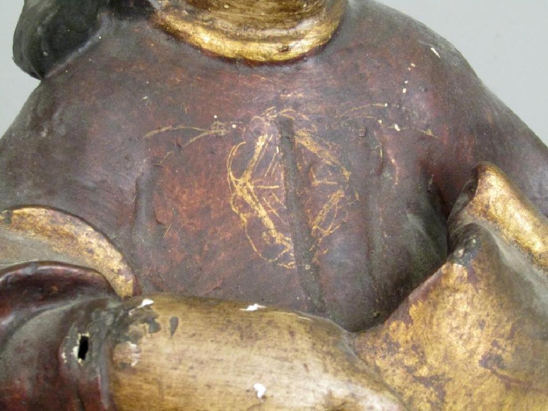 Antique Spanish Painted Wood Figure - 4
