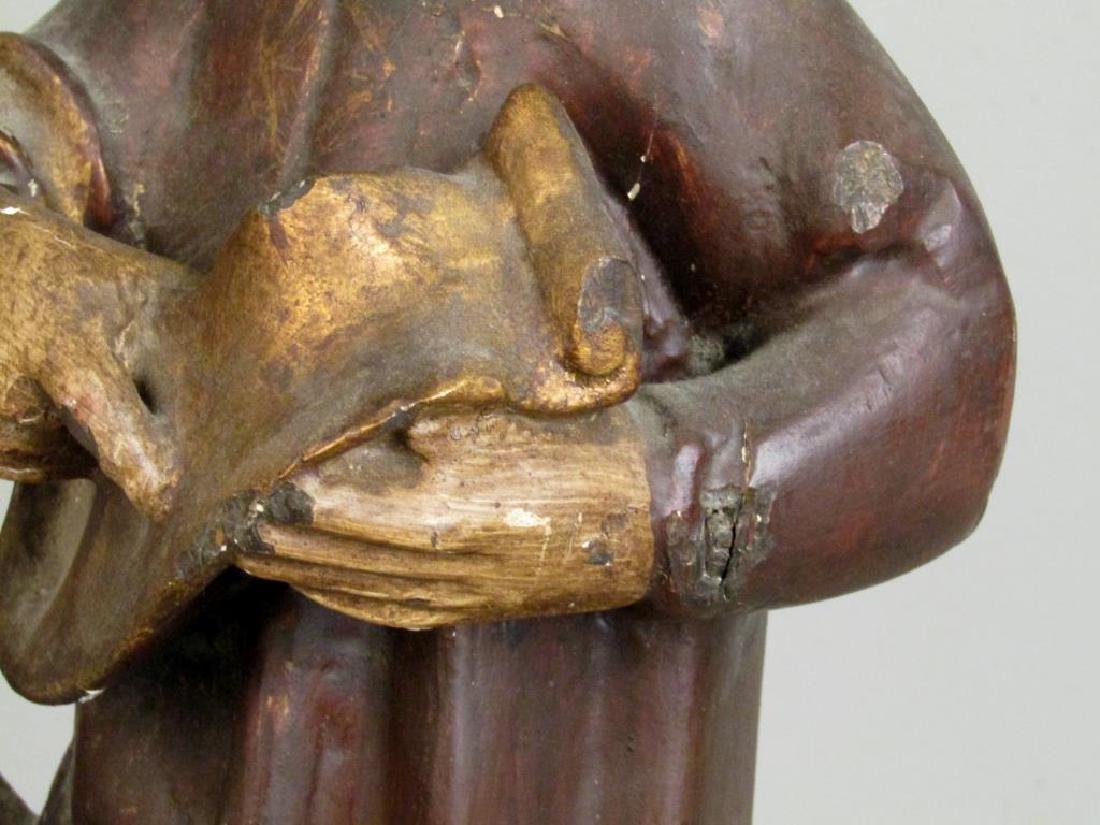 Antique Spanish Painted Wood Figure - 5