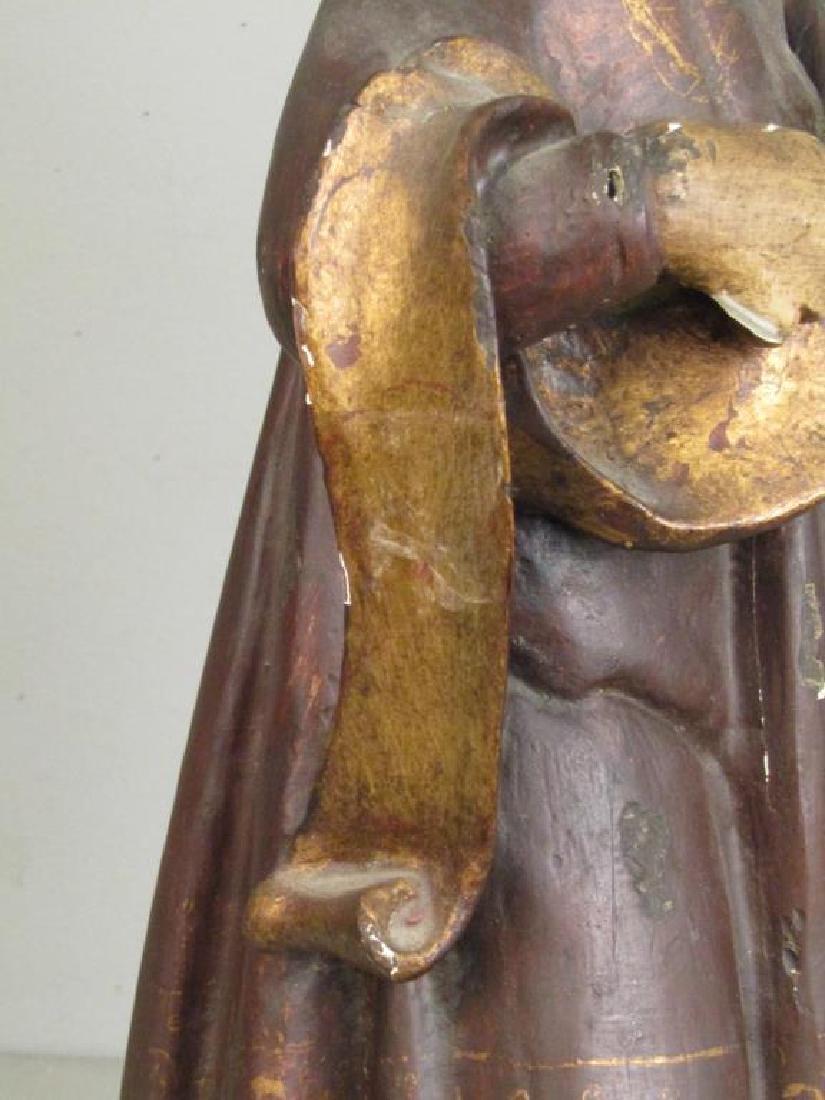 Antique Spanish Painted Wood Figure - 6