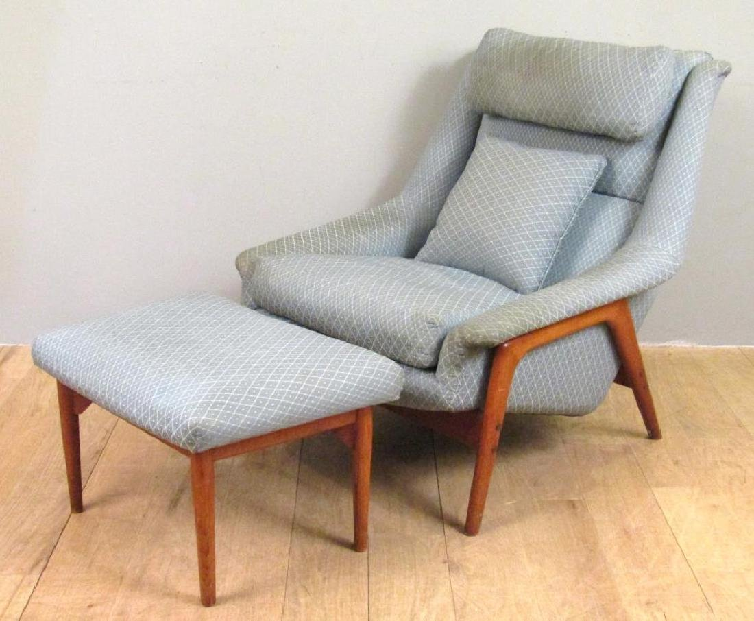 Mid Century Armchair and Ottoman