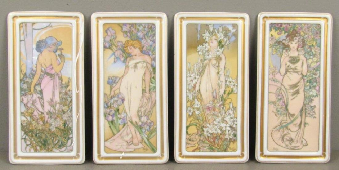 After Mucha - Set of 4 Porcelain Pen Trays
