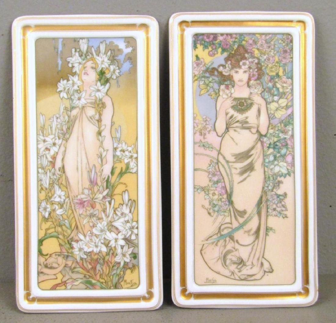 After Mucha - Set of 4 Porcelain Pen Trays - 3