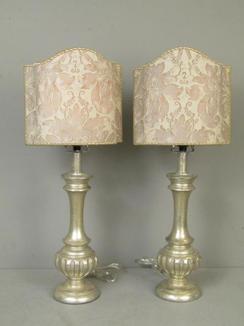 Pair Silvered Table Lamps
