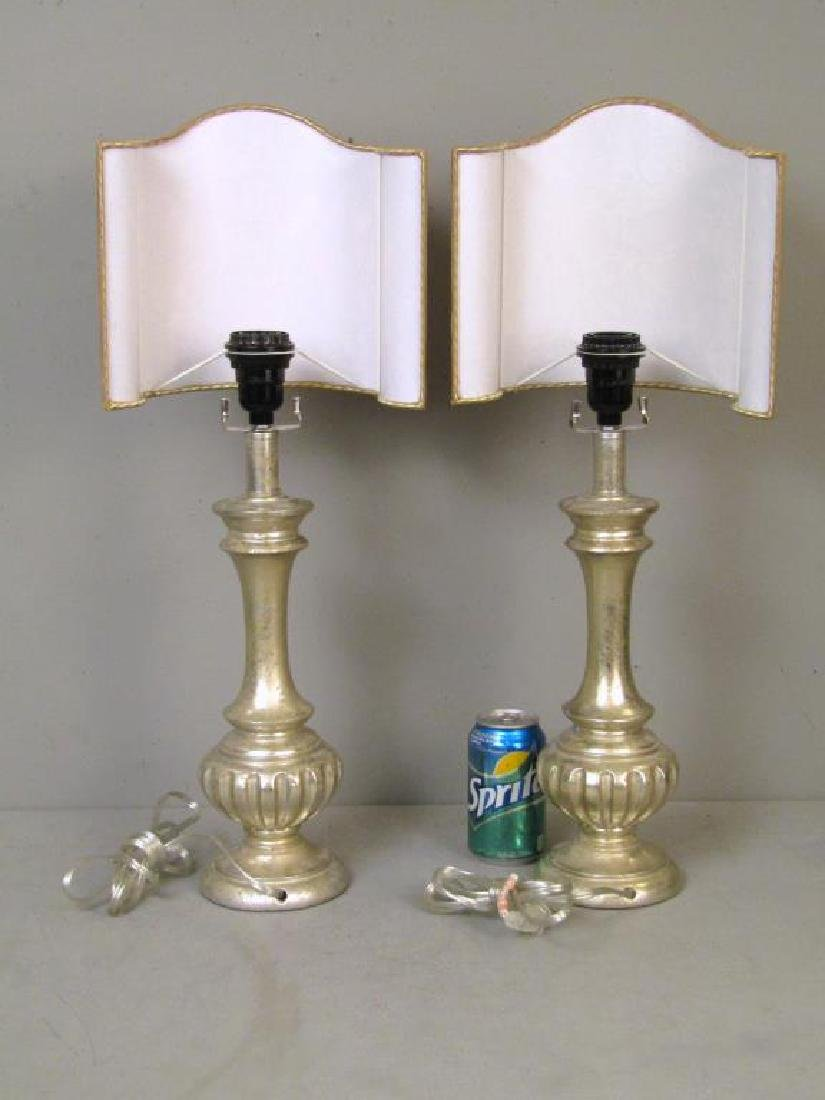 Pair Silvered Table Lamps - 2