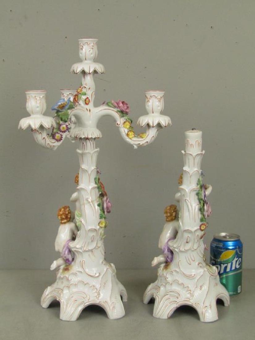 Pair Schierholz Porcelain Candelabra (as is) - 2