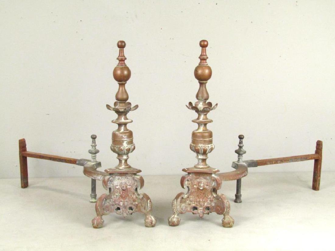Pair Bronze Andirons