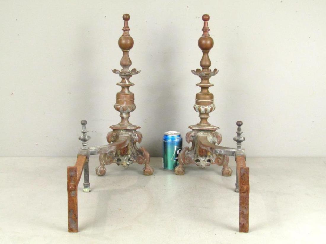 Pair Bronze Andirons - 2