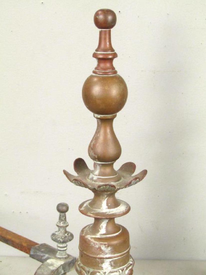 Pair Bronze Andirons - 3