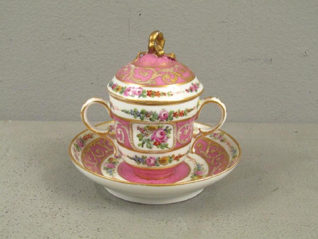 Sevres Porcelain Covered Cup and Saucer