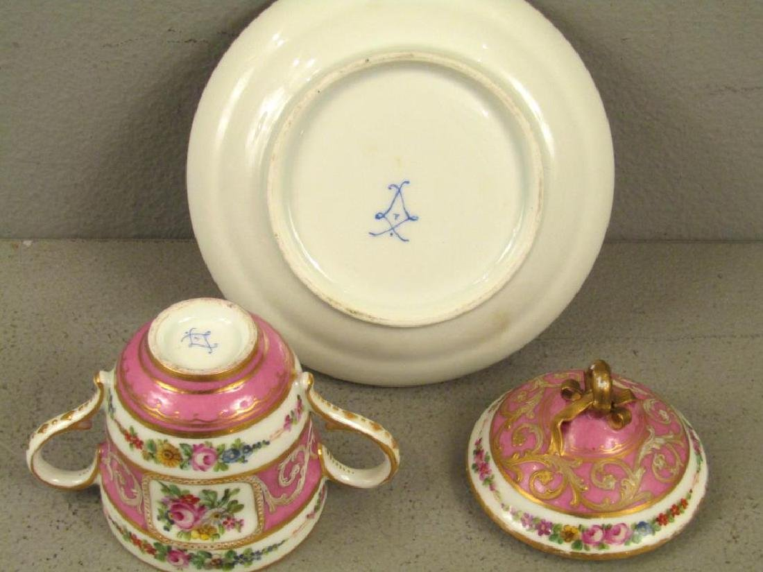 Sevres Porcelain Covered Cup and Saucer - 3