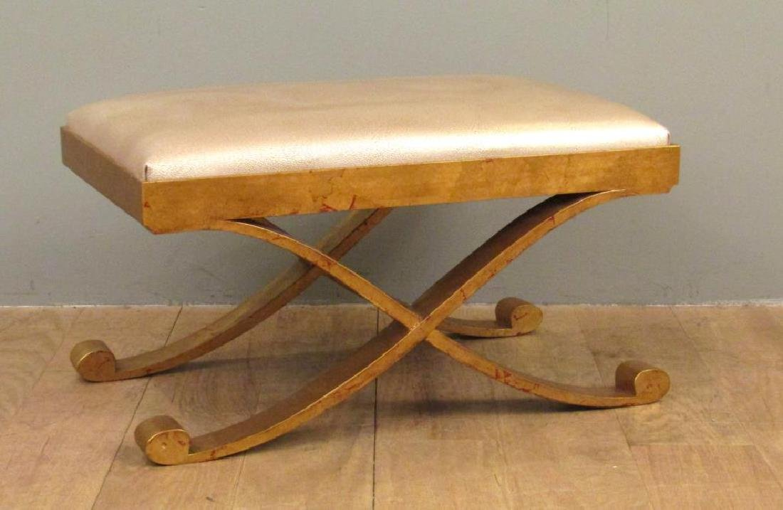 "Modernist ""X"" Form Gilt Metal Bench"