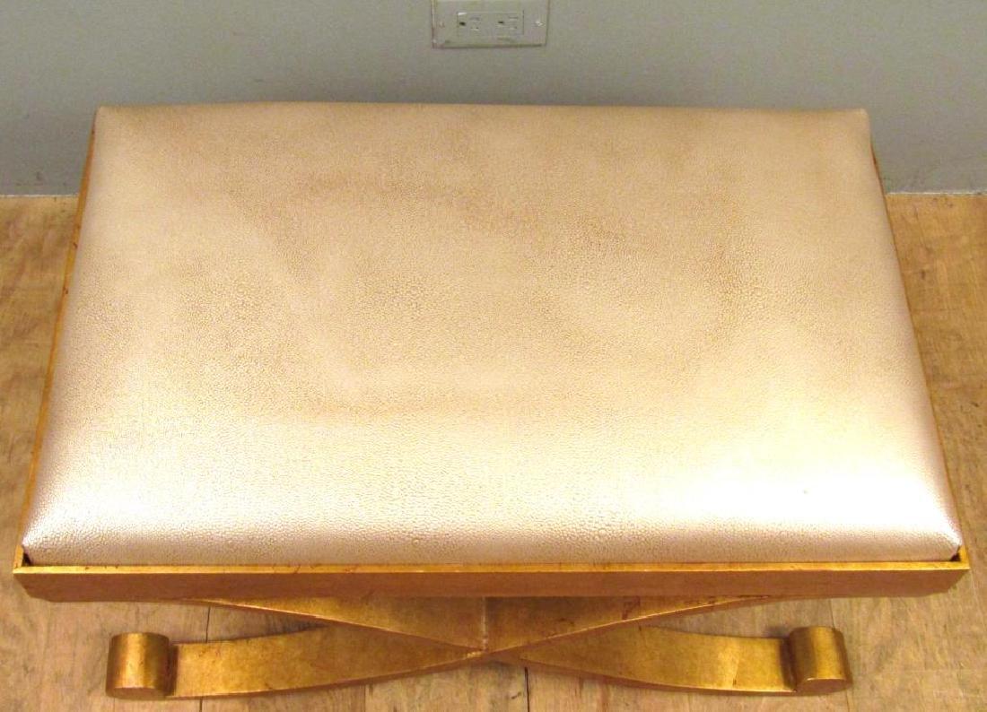 "Modernist ""X"" Form Gilt Metal Bench - 3"