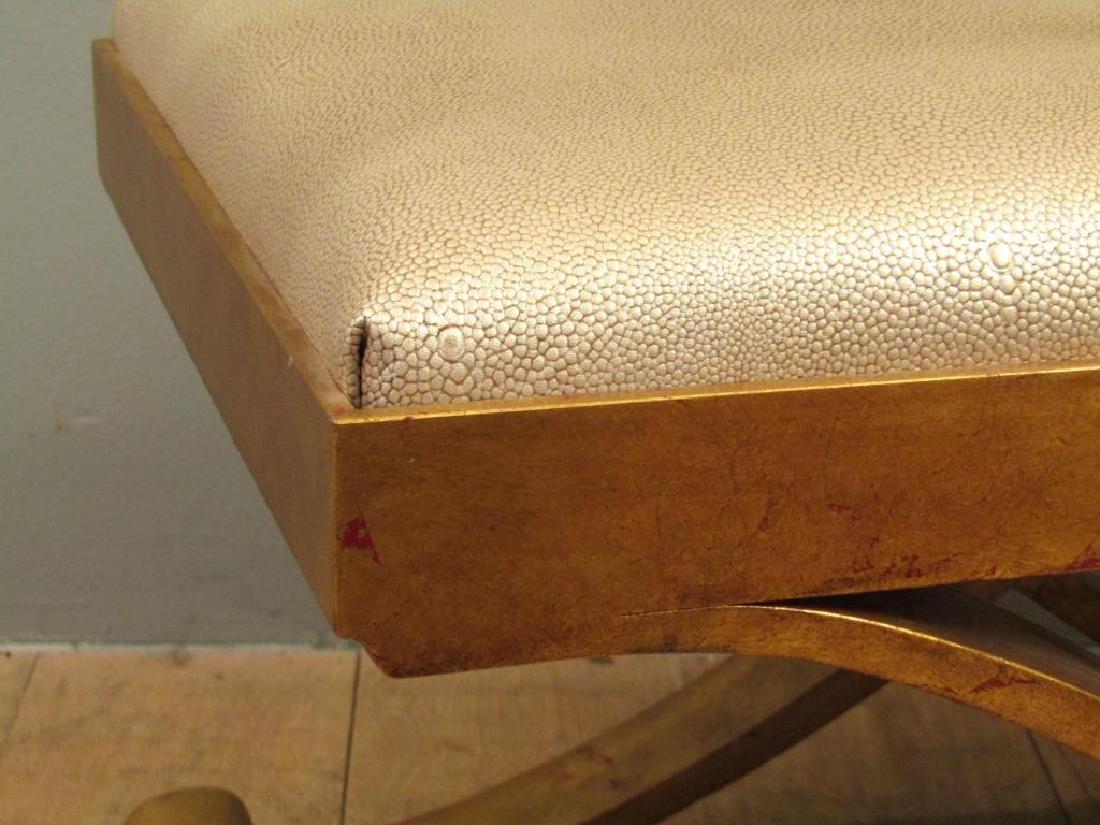 "Modernist ""X"" Form Gilt Metal Bench - 4"