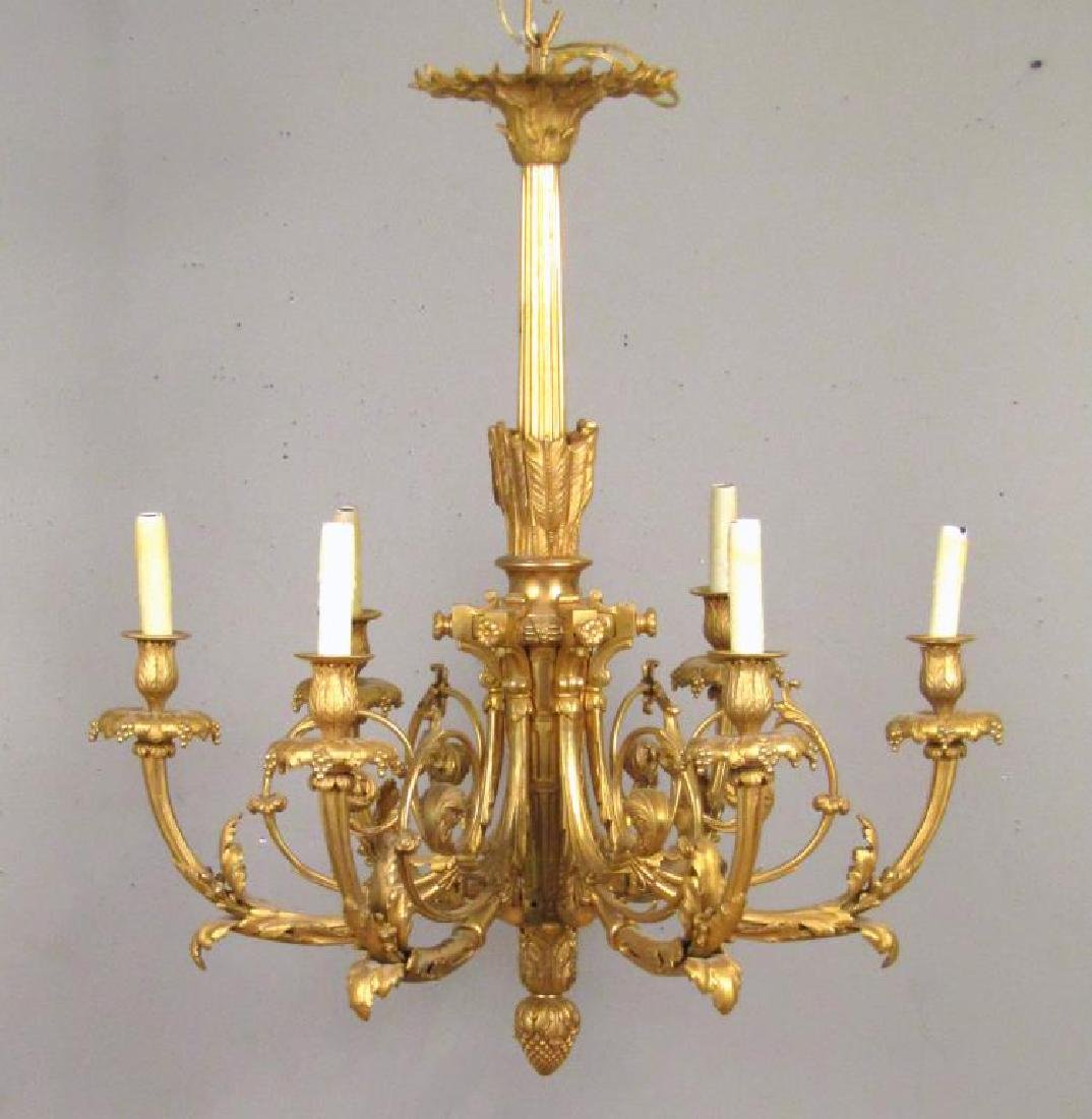 French 6 Light Gilt Bronze Chandelier