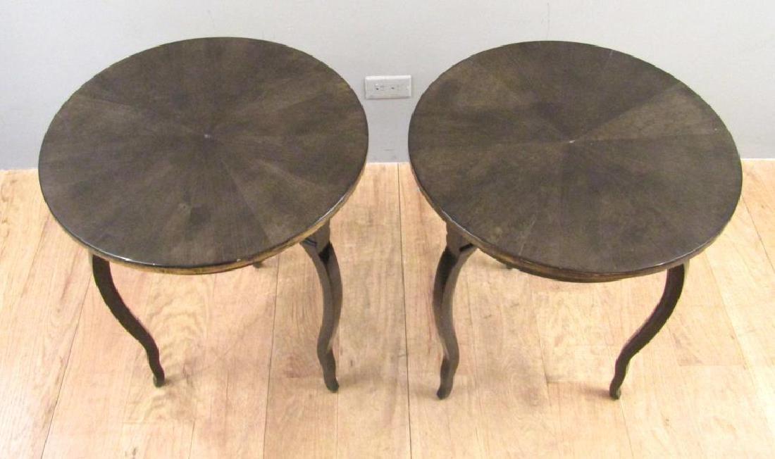 Pair Modernist Round Lamp Tables - 2
