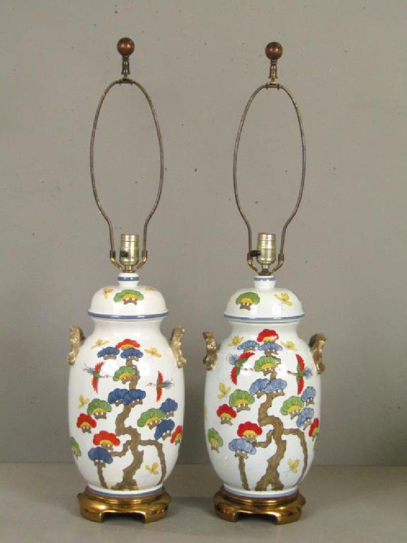 Pair Chinese Style Porcelain Lamps