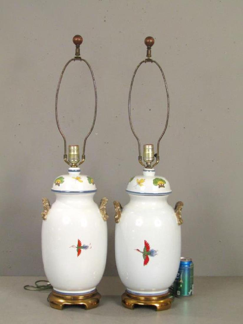 Pair Chinese Style Porcelain Lamps - 3