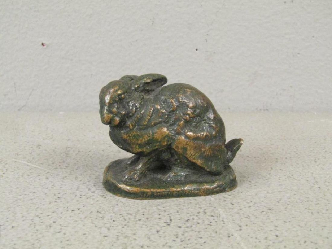 After Barye - Small Bronze Rabbit
