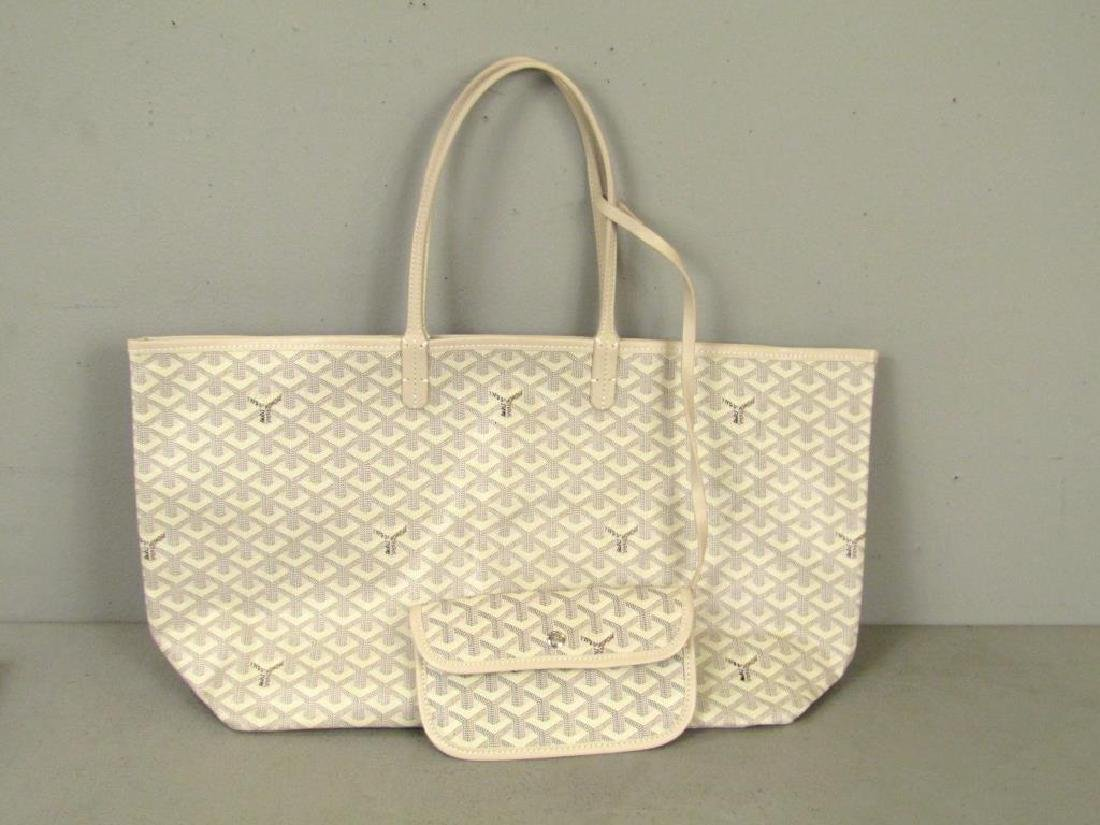 Goyard St. Louis White Canvas Tote Bag