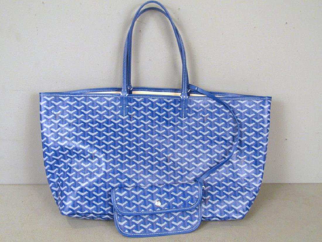 Goyard St. Louis Dark Blue Canvas Tote Bag