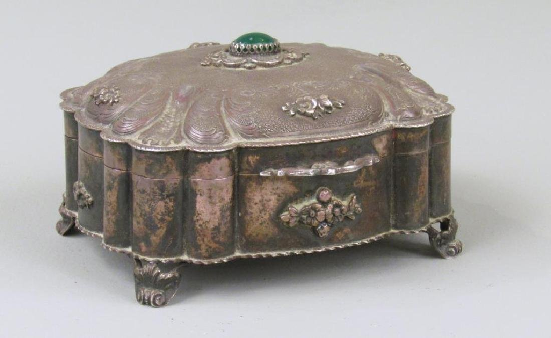 Russian Silver Jeweled Box