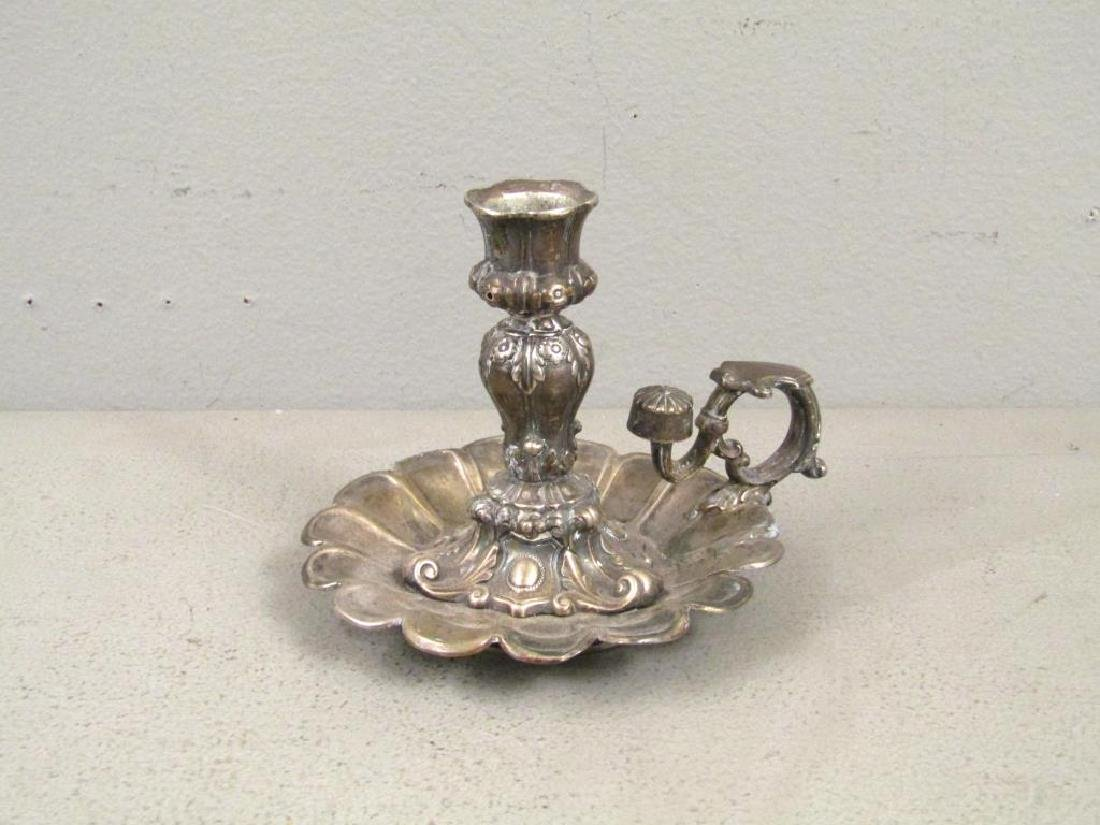 Antique Silver Chamber Stick