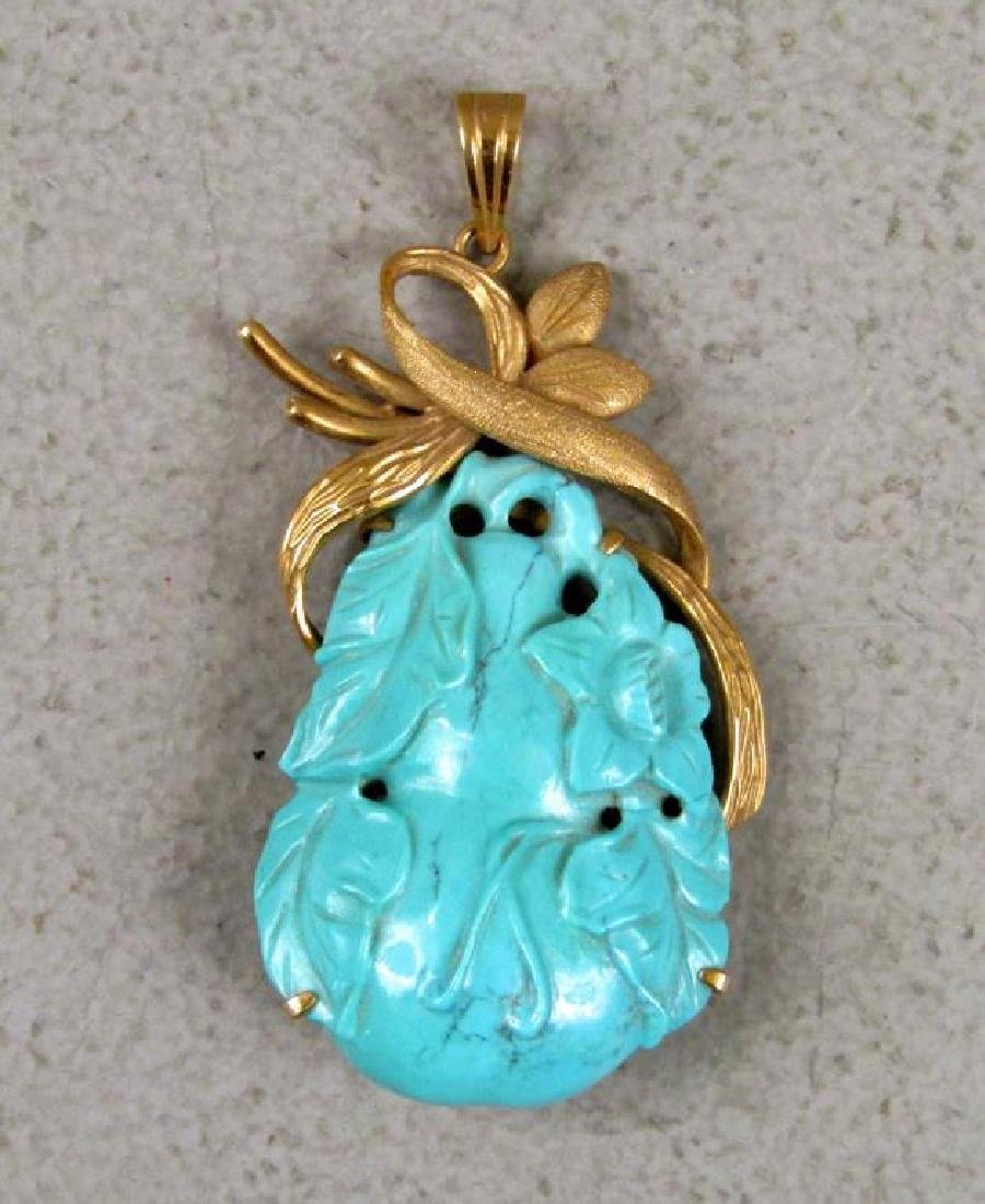 Chinese 14K Gold and Turquoise Pendant