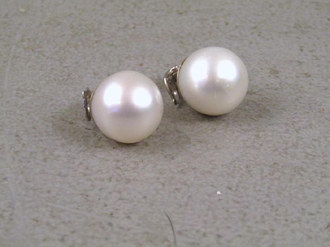 Pair 18K White Gold Pearl Earrings