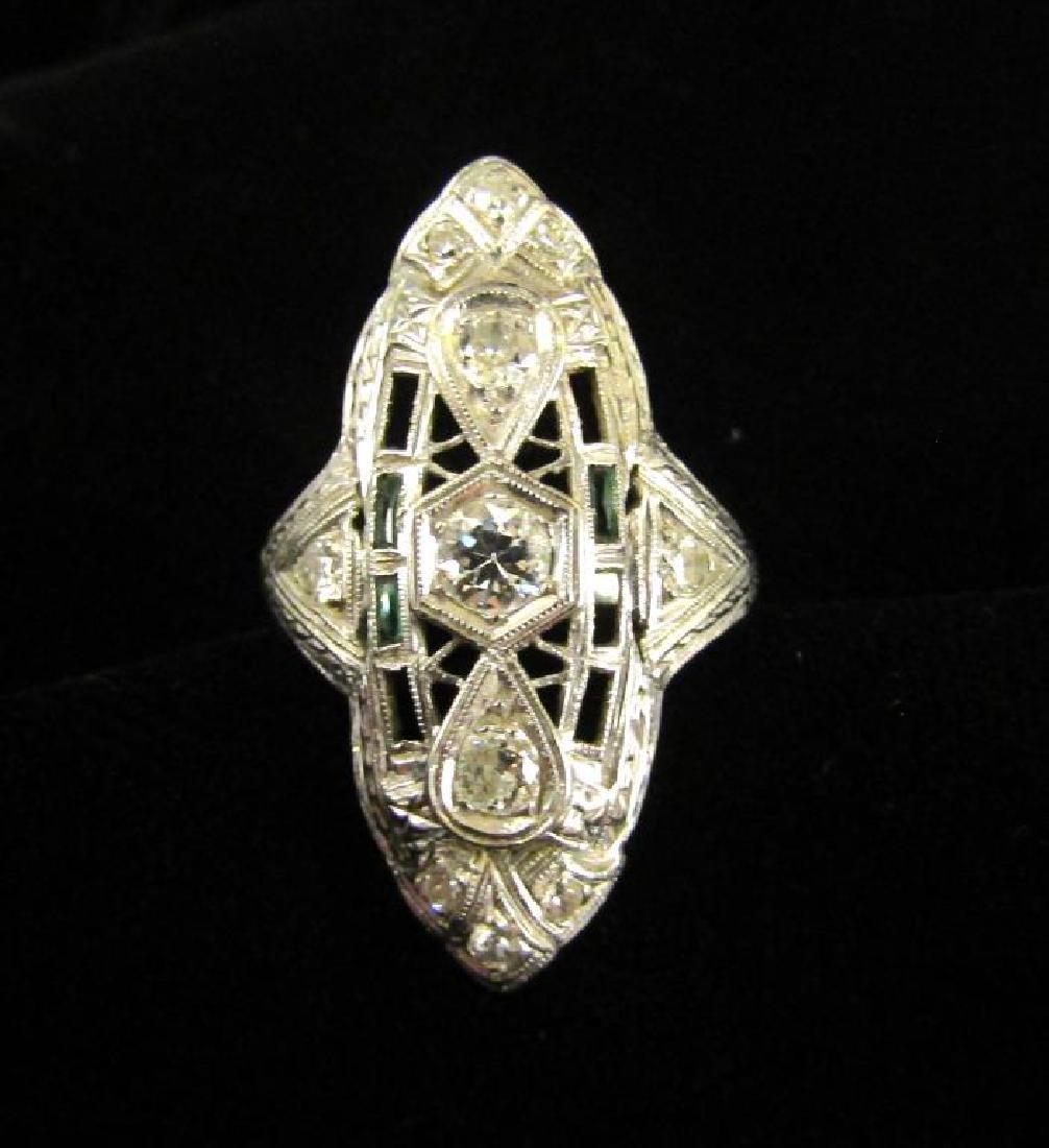 Art Deco Diamond, Emerald and White Gold Ring