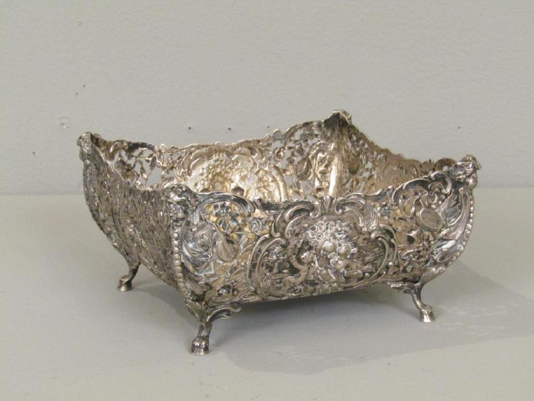 German Silver Square Footed Bowl