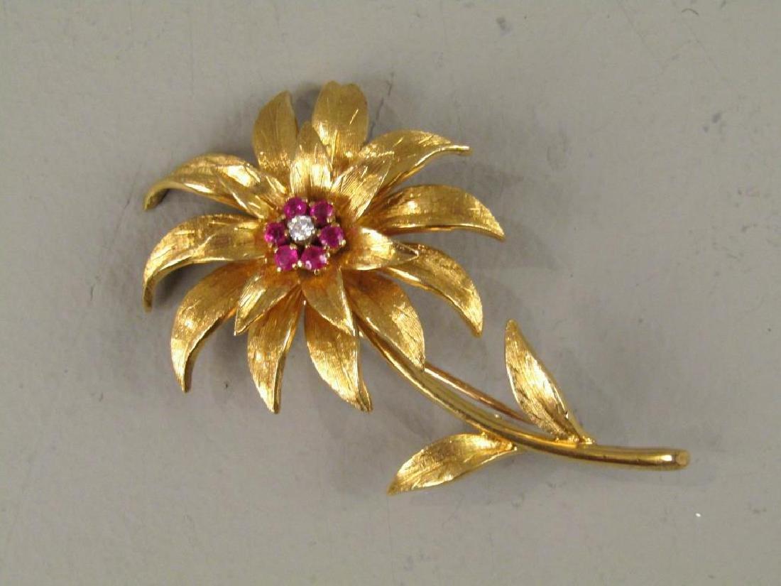 Tiffany 18K Gold Diamond Brooch