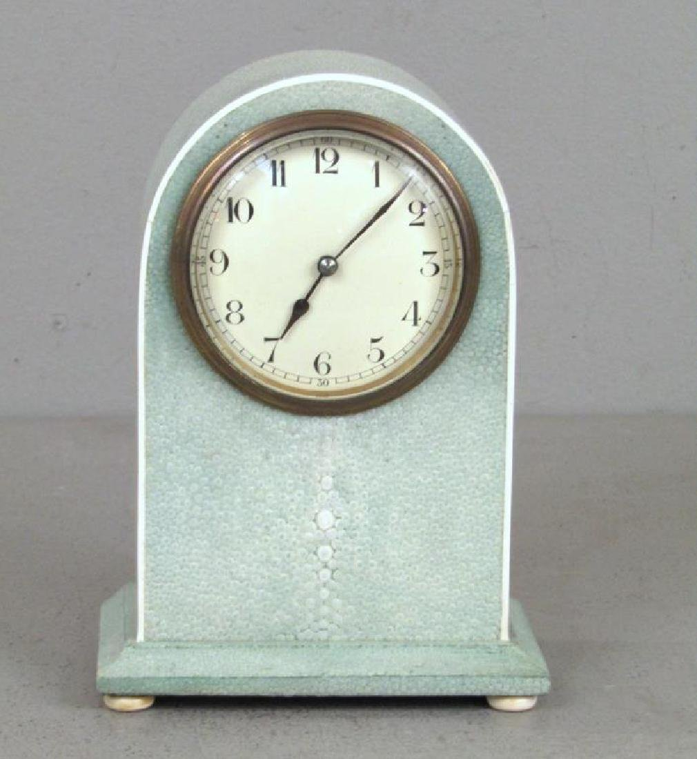 R & Y Agousti Shagreen Mantel Clock