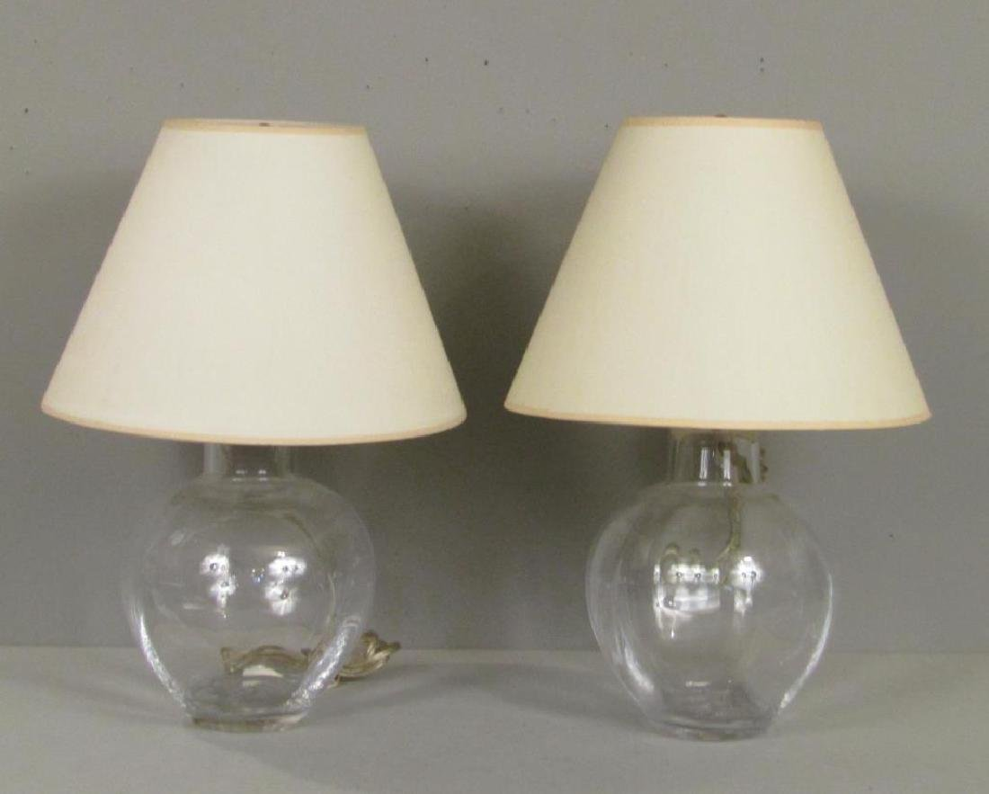 Pair Simon Pearce Glass Lamps