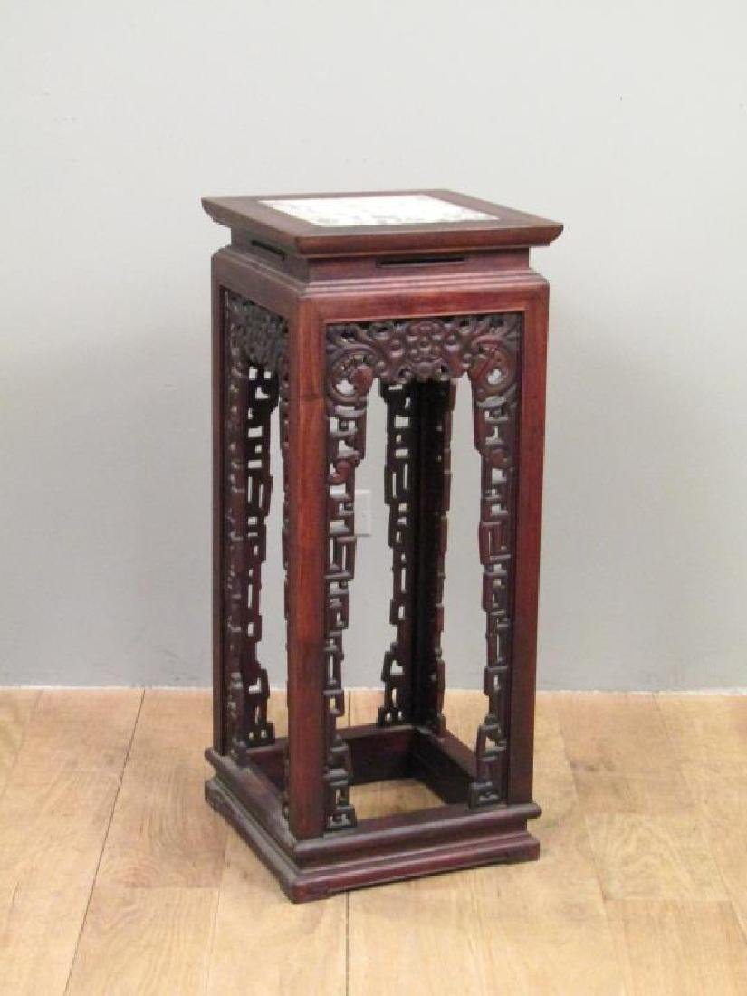 Chinese Inset Marble Top Stand