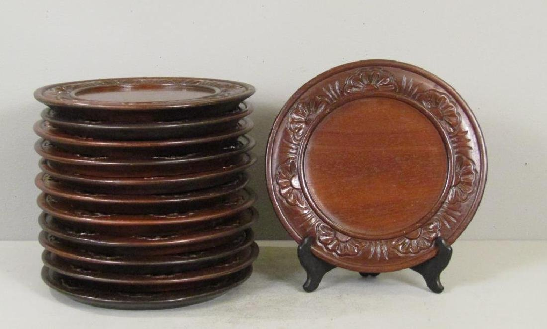 Set of 12 Chinese Carved Wood Plates