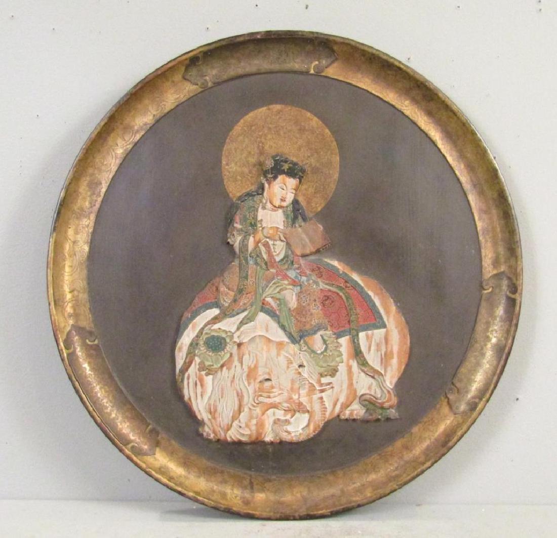 Antique Japanese Carved and Polychromed Plaque