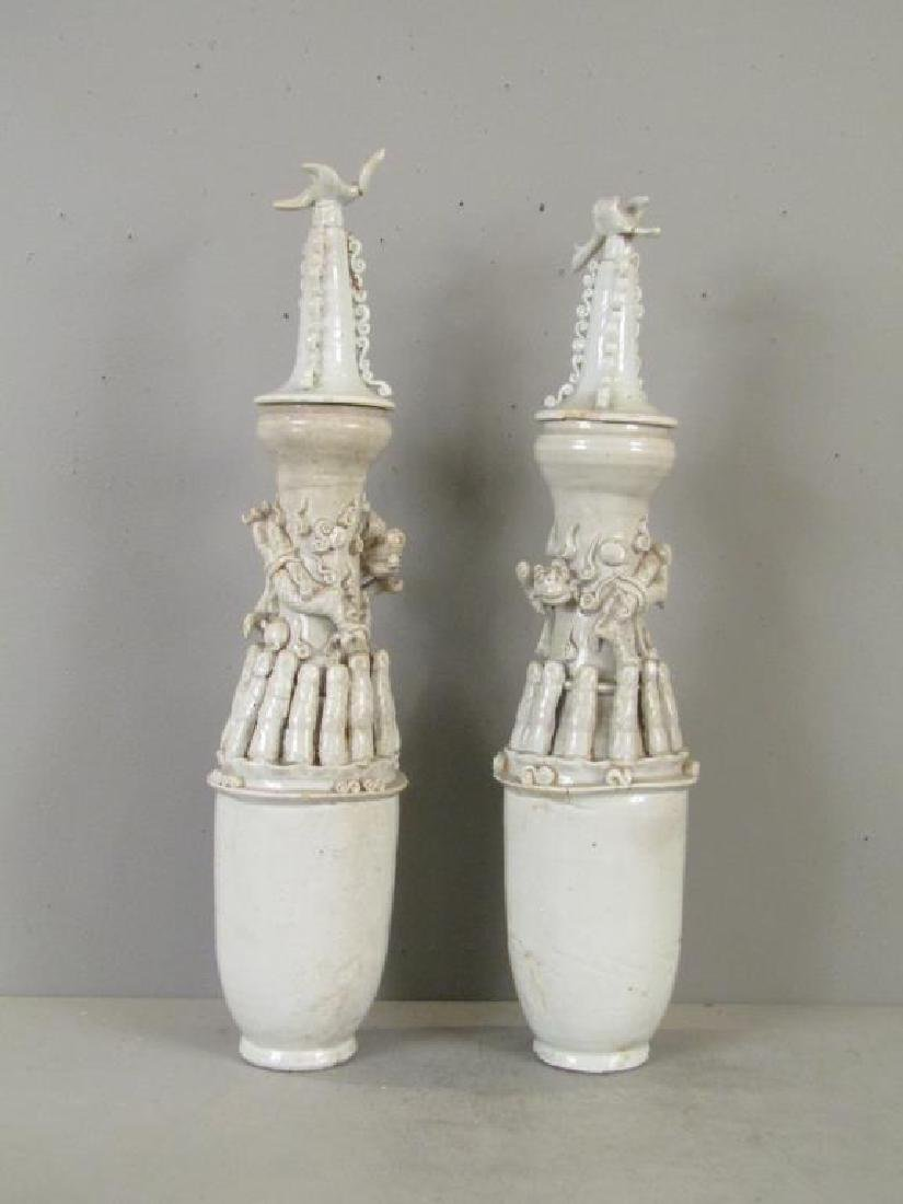 Pair Chinese Quingpai Style Covered Cinerary Urns