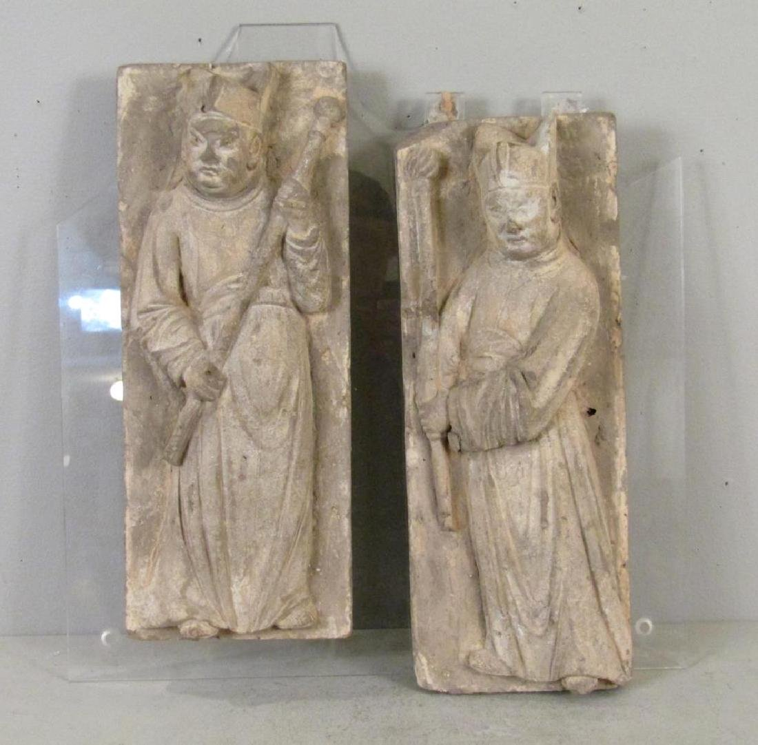 Pair Chinese Grey Pottery Wall Plaques