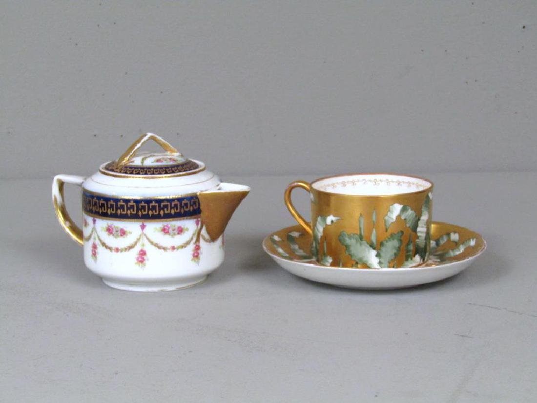 Russian Porcelain Teapot and Cup and Saucer