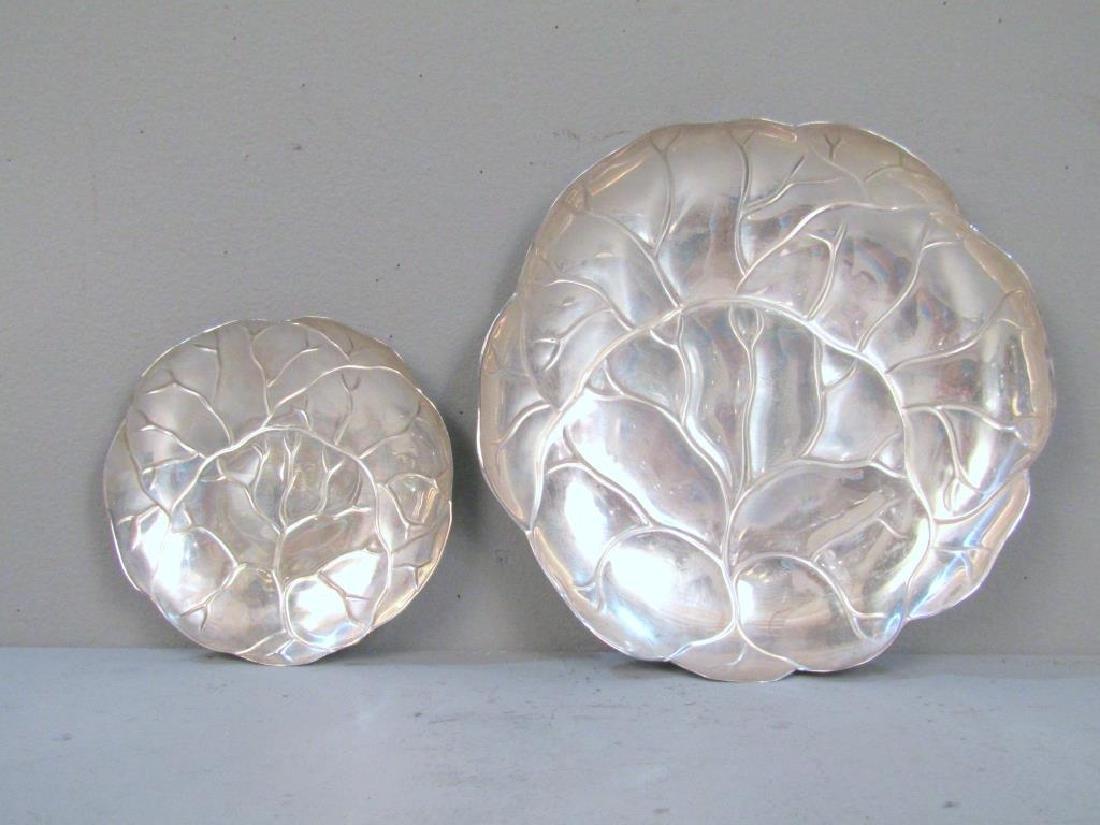 2 Tiffany & Co. Sterling Cabbage Leaf Trays - 2
