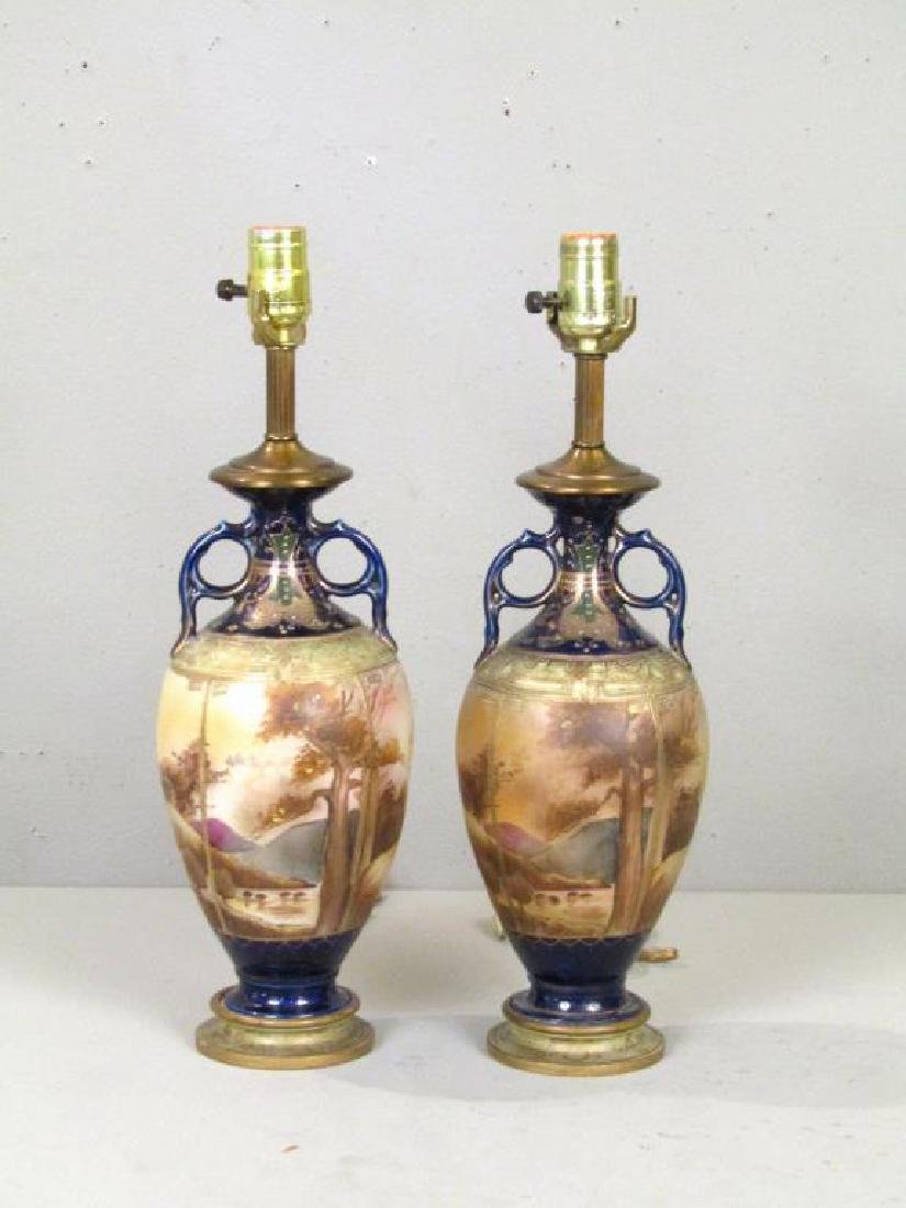 Pair Vienna Style Painted Urn Lamps